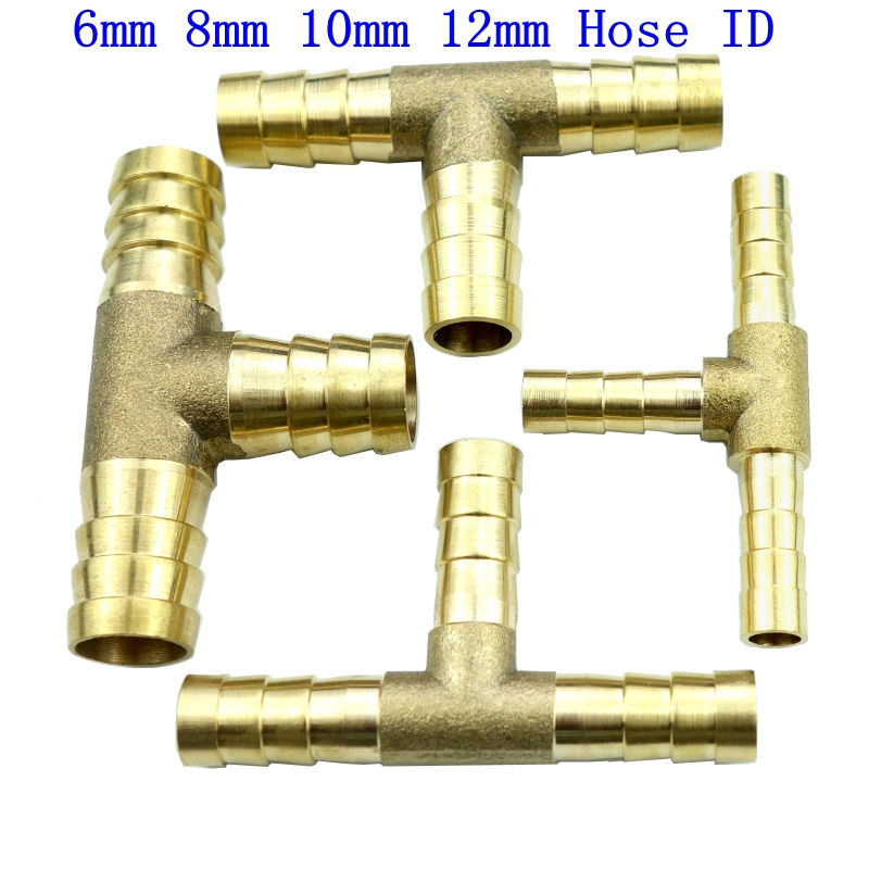 Brass Barb Fitting Tee 3 Way Hose Barbed Connector For 6mm 8mm 10mm 12mm ID Hose