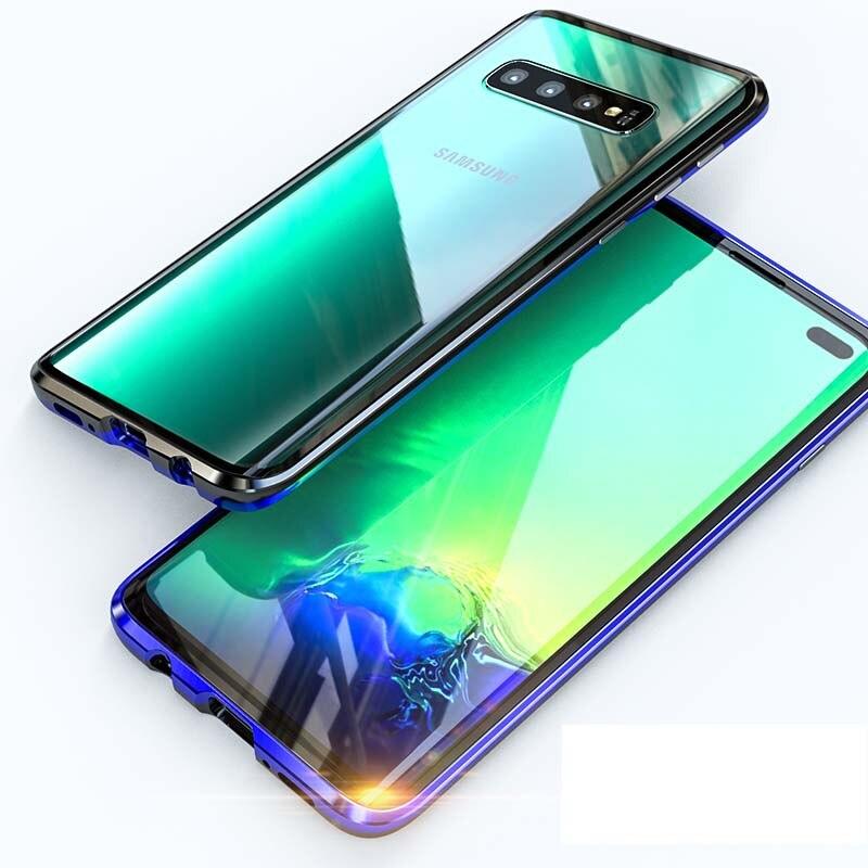 Goedhartig Luxe Magnetische Case 360 Voor + Back Dubbelzijdig 9 H Gehard Glas Screen Metal Bumper Voor Samsung Galaxy S10 S10plus S10eks0109