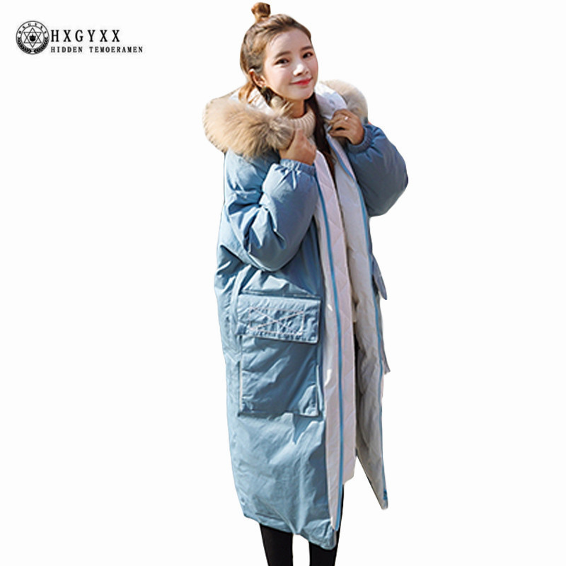 2017 Women Winter Down Parka Raccoon Fur Collar Hooded Military Jacket Plus Size Long Loose Warm Padded Coat Outwear OKB288 2017 winter new clothes to overcome the coat of women in the long reed rabbit hair fur fur coat fox raccoon fur collar