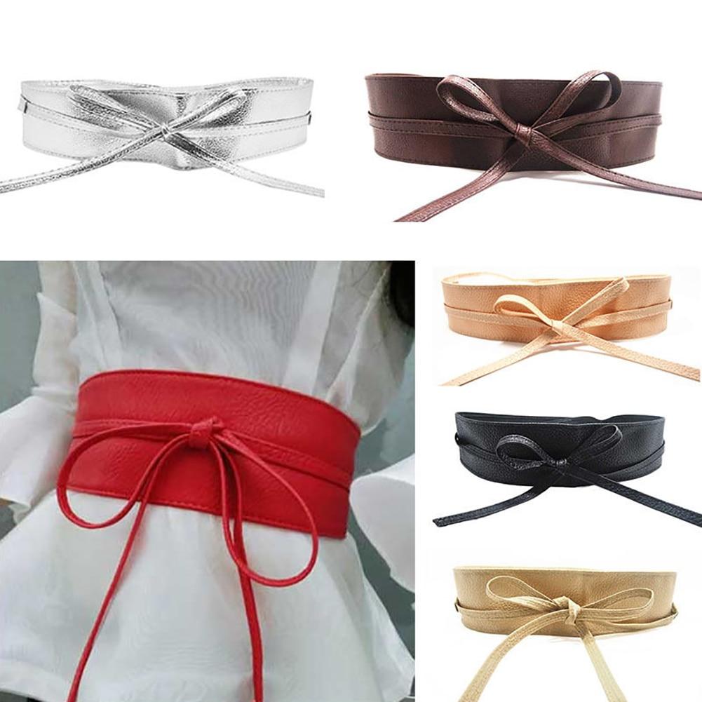Fashion Women Faux Leather Wrap Around Tie Corset Cinch Waist Wide Dress   Belt