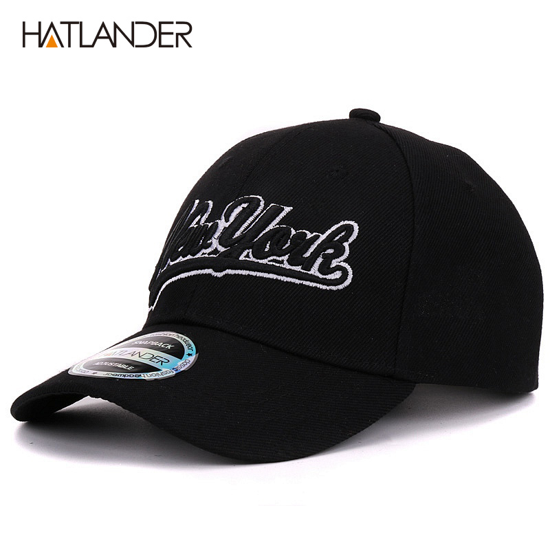 Hatlander New York black baseball caps Las Vegas adjustable sports cap gorras chapeau bone hats homme letter casual caps unisex