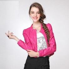 Red Leather Jacket Women Chaquetas De Cuero Mujer PU O Neck Rivet Women's Short Leather Jacket Red Coat