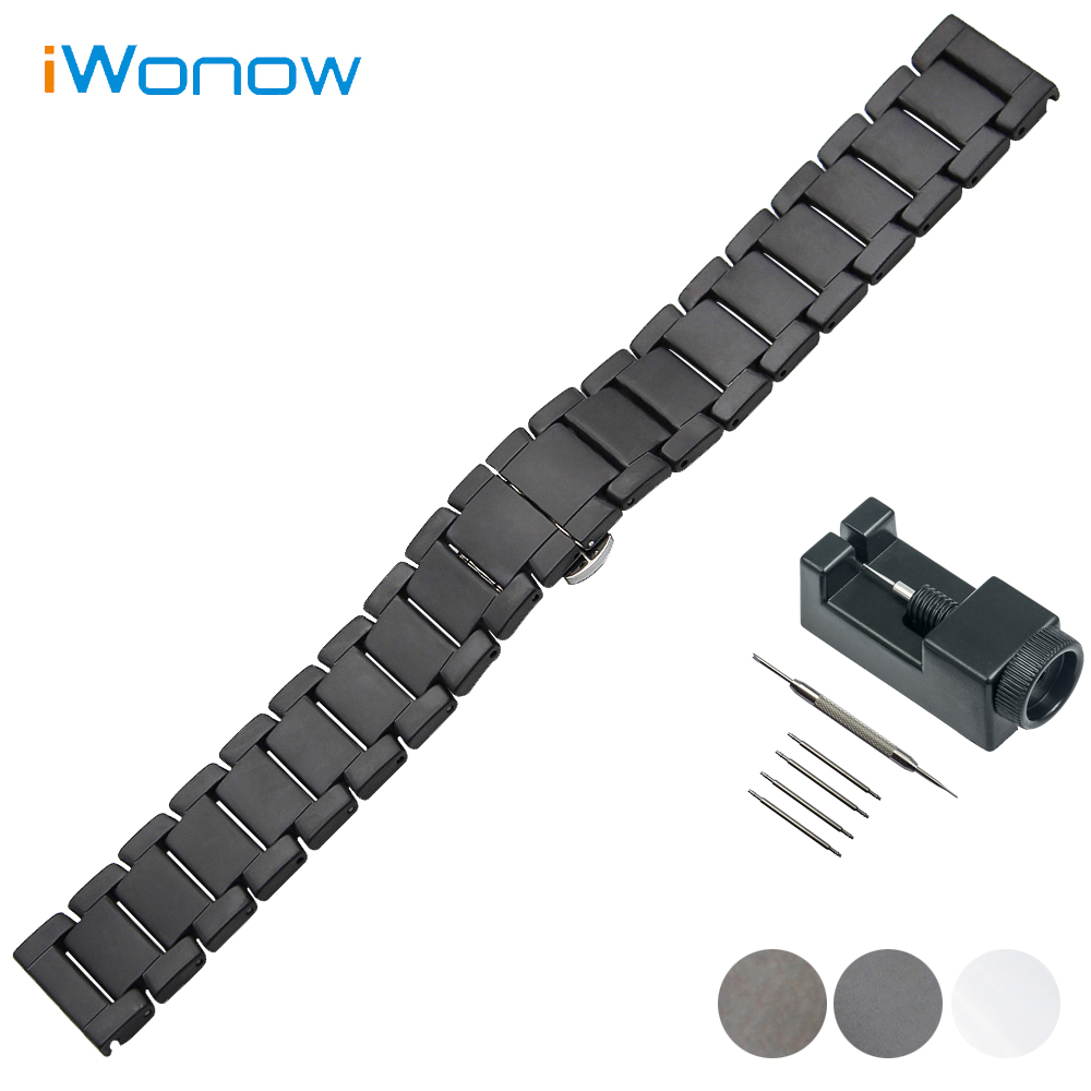 Full Ceramic Watch Band 22mm for Moto 360 2 46mm 2015 Butterfly Buckle Strap Wrist Belt Bracelet Black White + Tool + Spring Bar 16mm ceramic watch band for huawei talkband b3 women s butterfly buckle strap wrist belt bracelet black white tool spirng bar