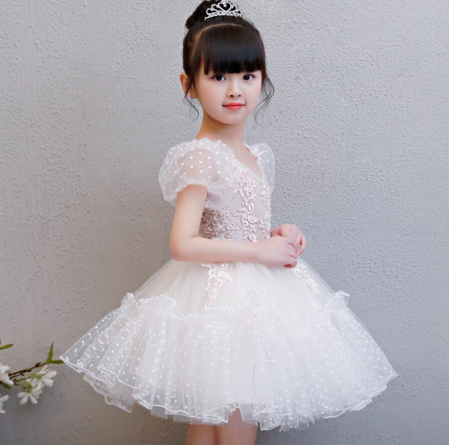 Haute qualité dentelle blanche fleur fille robe manches bouffantes princesse robe de mariée Appliques bébé fille baptême première Communion robe