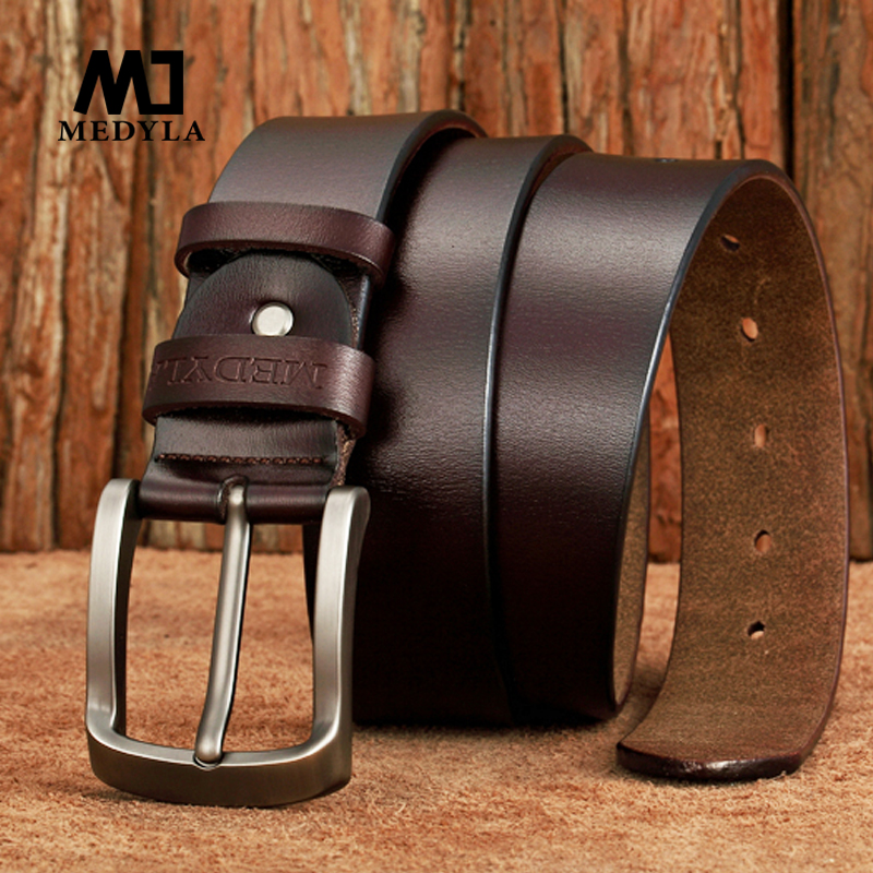MEDYLA New Arrival Italian Leather   Belt   Men High Quality Jeans   Belt   Brand Vintage Strap for Men Black Coffee Casual Waistband