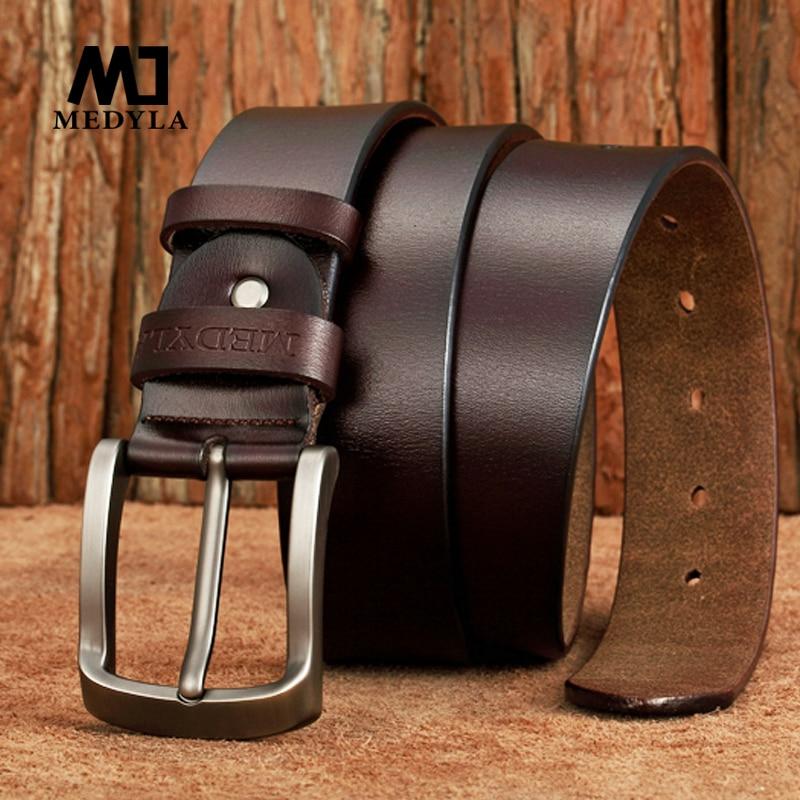 MEDYLA New Arrival Italian Leather   Belt   Men High Quality Jeans   Belt   Brand Vintage Strap for Men Black Coffee Casual Waistband