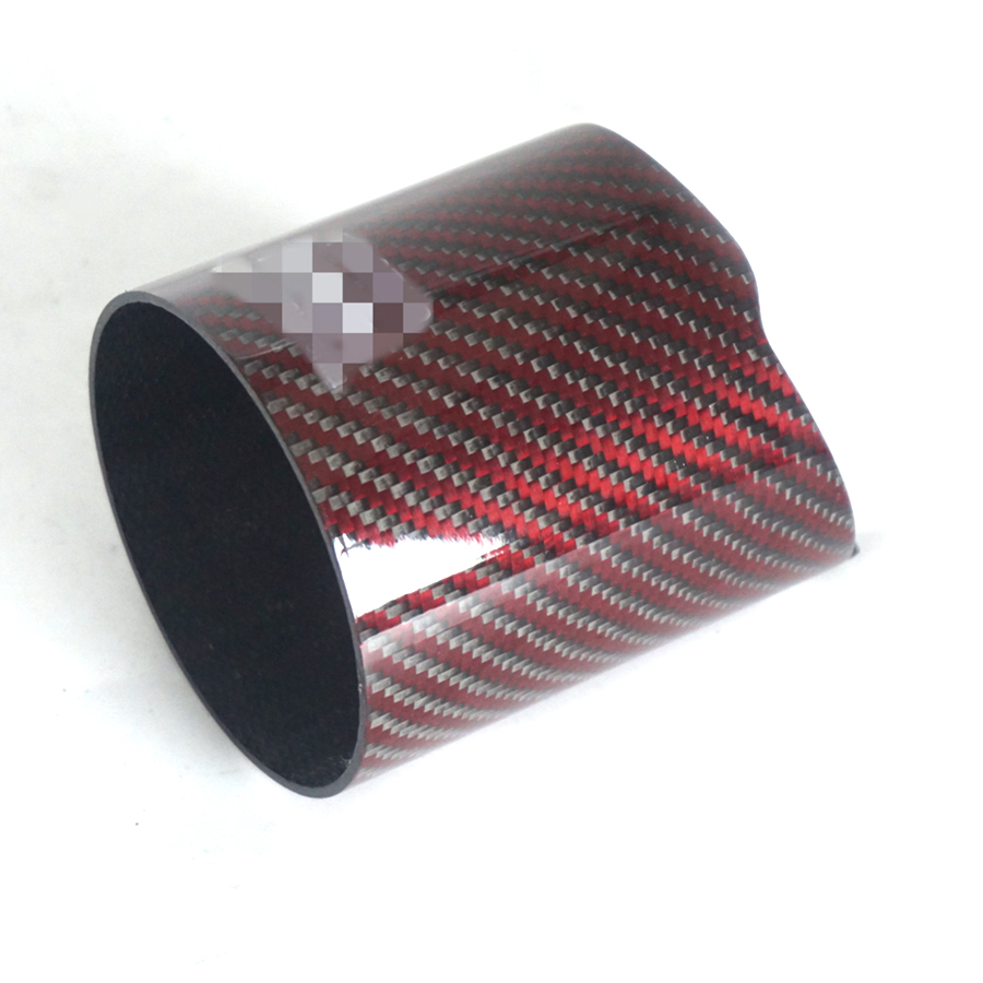 101mm Carbon Fiber Car Exhaust muffler tip Red Glossy Pipe Tip case Exhaust Tip housing With logo-in Exhaust Headers from Automobiles & Motorcycles