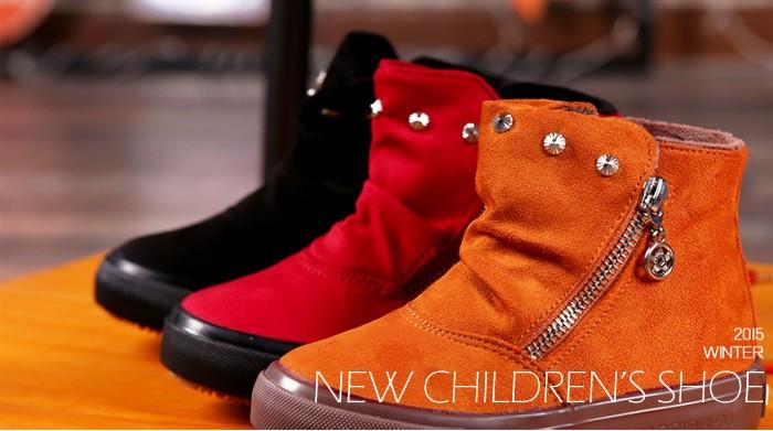 23eab4525 Brand 2015 Autumn Children Shoes Flock Leather Flat Rubber Sole Kids Boots  Abkle Short Plush Fashion ...