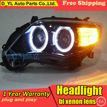 D_YL Car Styling for Corolla Headlights 2011-2013 Corolla LED Headlight DRL Bi Xenon Lens High Low Beam Parking HID Fog Lamp