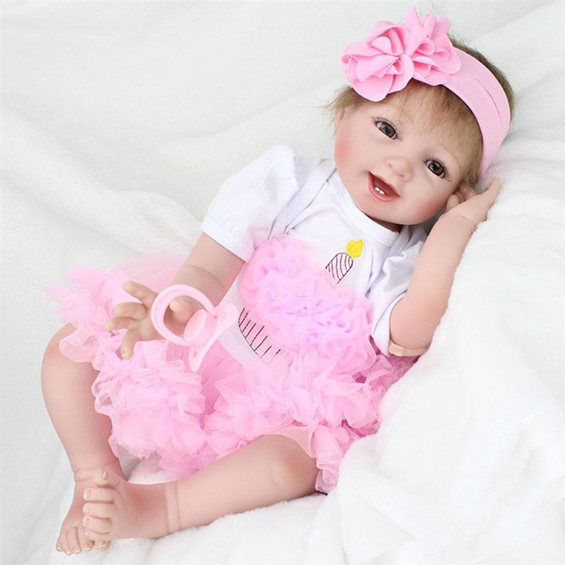 22 Inch Cute Lifelike Handmade Reborn Newborn Baby Realike Doll Lovely Silicone Vinyl Looking Real Toddlers Doll Gifts