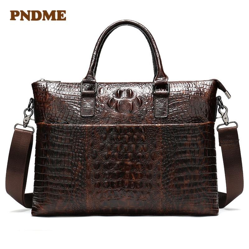 FNDME Bag For Men's Briefcase Genuine Leather Office Satchel Bag Men's Crocodile Pattern Portable Tote For Document Bags