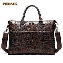 FNDME bag for men's briefcase genuine leather office satchel bag men's crocodile pattern portable tote for document bags croc pattern satchel bag