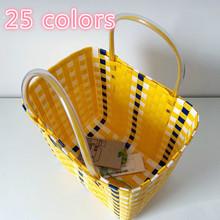 Ins Hot Summer Beach Basket Patchwork Striped Hand Knitted C