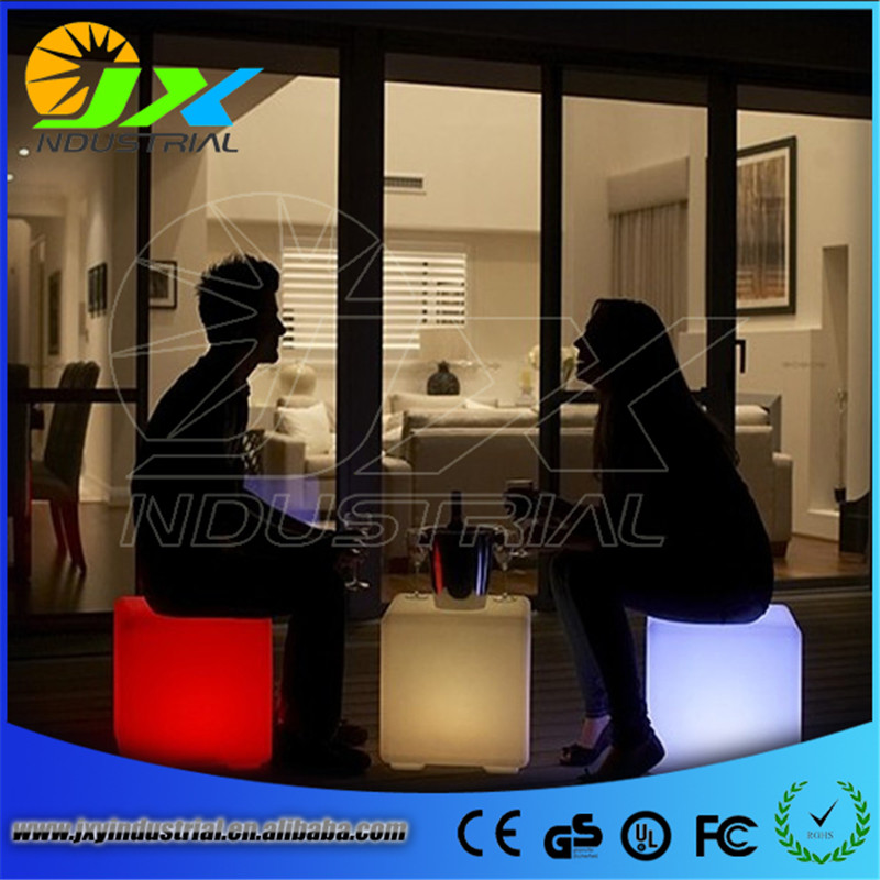 ФОТО JXY led cube chair 40cm*40cm*40cm/ 40CM100% unbreakable led Furniture chair Magic Dic Remote controll square cube luminous light