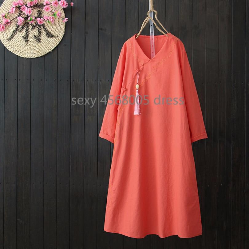 Robe Féminine Section Coton Longue Chinois Diagonale rose Style Service Bouton rouge Zen Plaque Broderie orange Robes Lâche Linge Bleu Rétro Thé 88O0Iqw