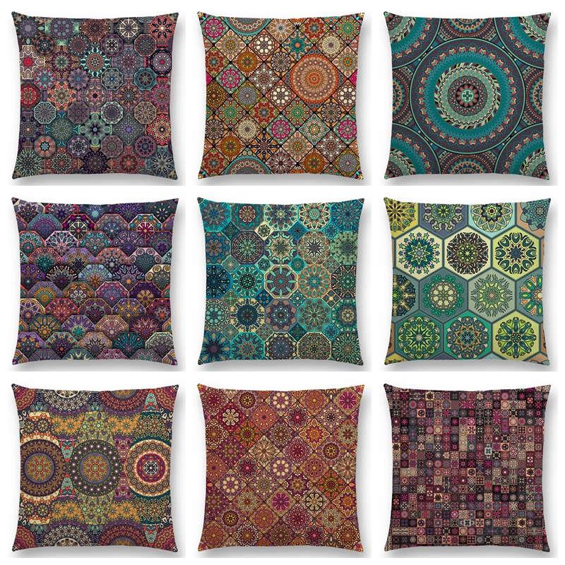 1pcs Vintage Boho Pattern Pillow Case Polyester Sofa Cushion Cover Decor 18inch