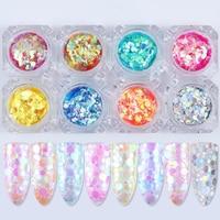 8 Colors Mermaid Glitter Sequins Nail Flakies Set Semi Transparent Round Paillette Flakes Manicure Nail Art
