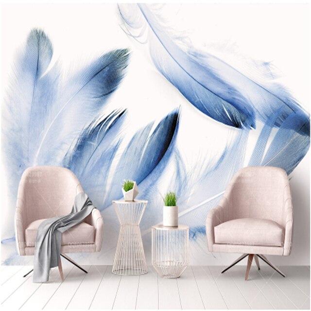 Personnalisé Bleu 3d Papier Peint Plume Moderne Minimalisme Mur ...