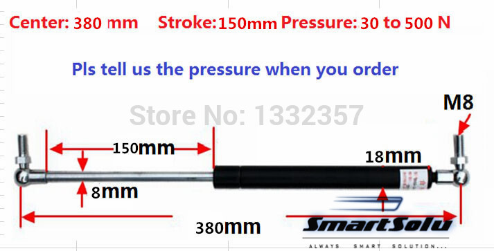 Free shipping 30 to 500N force 380mm central distance, 150 mm stroke, pneumatic Gas Spring, Lift Prop Gas Spring Damper free shipping500mm central distance 200mm stroke 80 to 1000n force pneumatic auto gas spring lift prop gas spring damper