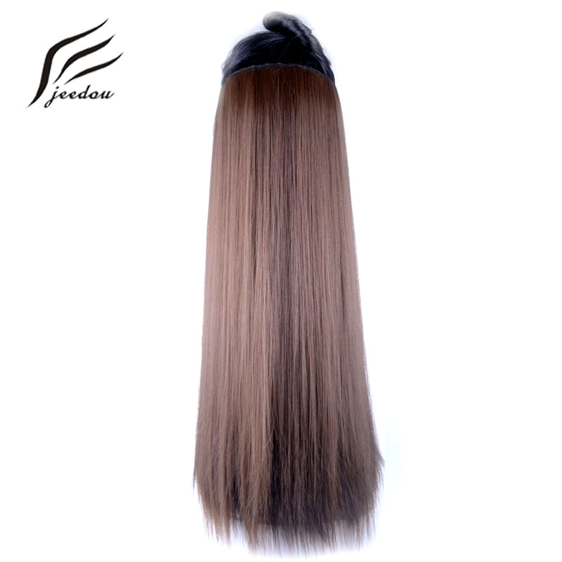 jeedou One Piece Straight Hair Clip in Hair Extensions 5Clips Synthetic 24 60cm 120g Black Brown Blond Color Women's Hairpieces