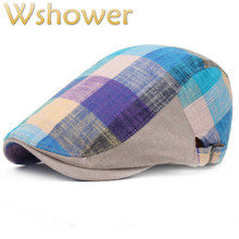 c60cd0f77cc Plaid Summer Beret Hat For Women Men Adjustable Cotton Linen Fall Flat Cap  Male Grid Ivy
