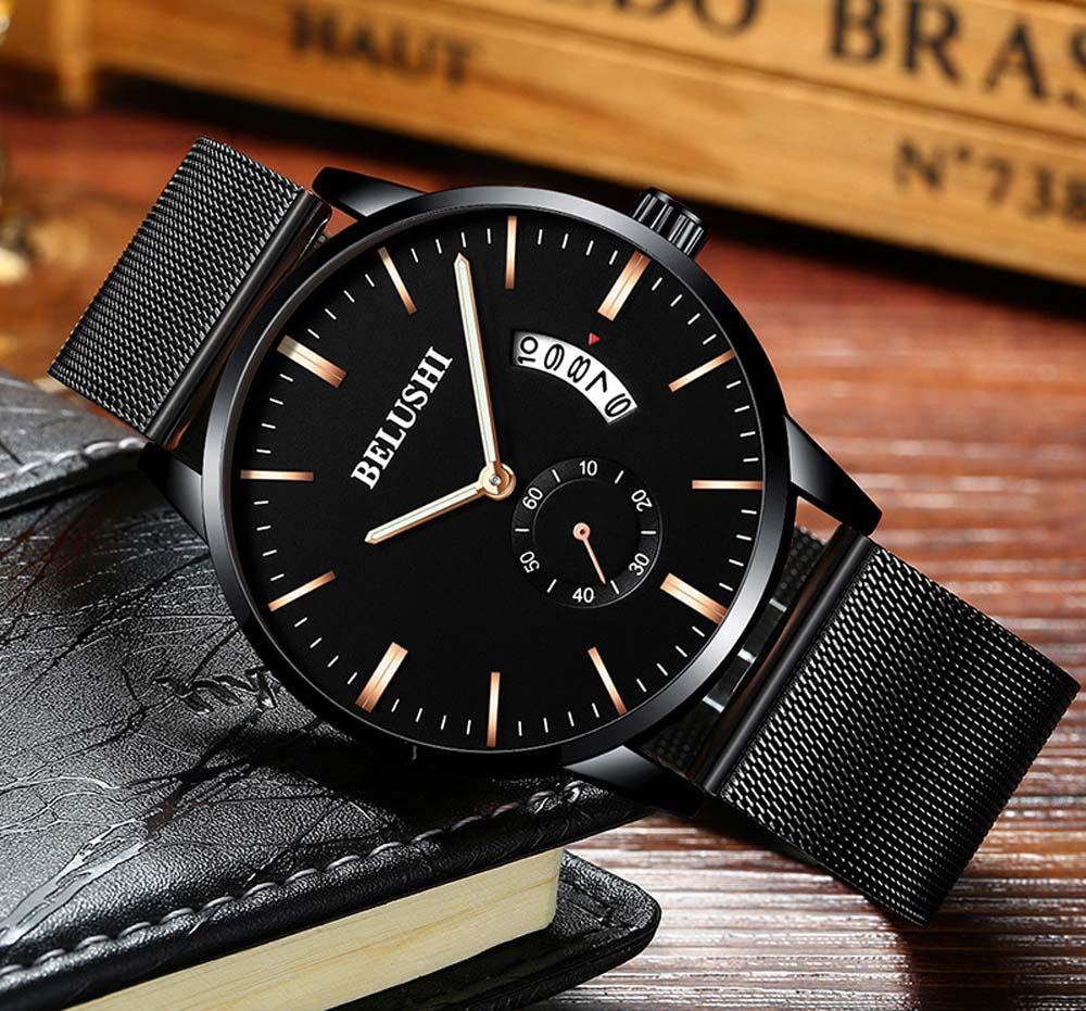 BELUSHI Mens Relojes de Primeras Marcas de Lujo de Malla de Acero - Relojes para hombres