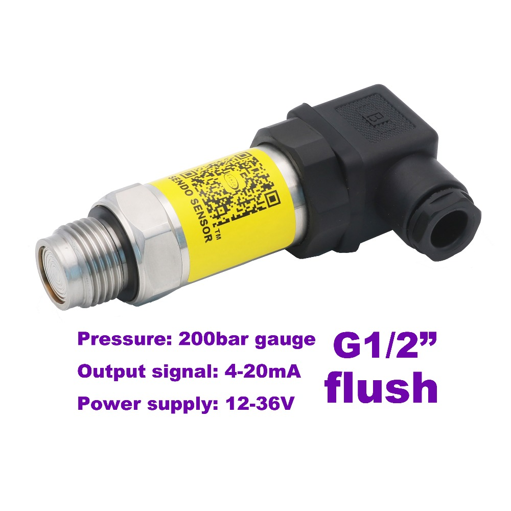 4-20mA flush pressure sensor, 12-36V supply, 20MPa/200bar gauge, G1/2, 0.5% accuracy, stainless steel 316L diaphragm, low cost