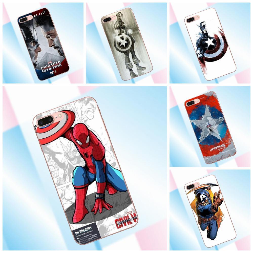 Marvel Captain America Shield Soft Pattern For iPhone 4 4S 5 5C SE 6 6S 7 8 Plus X For Sony Z Z1 Z2 Z3 Z5 compact M2 M4 M5 T3 XA