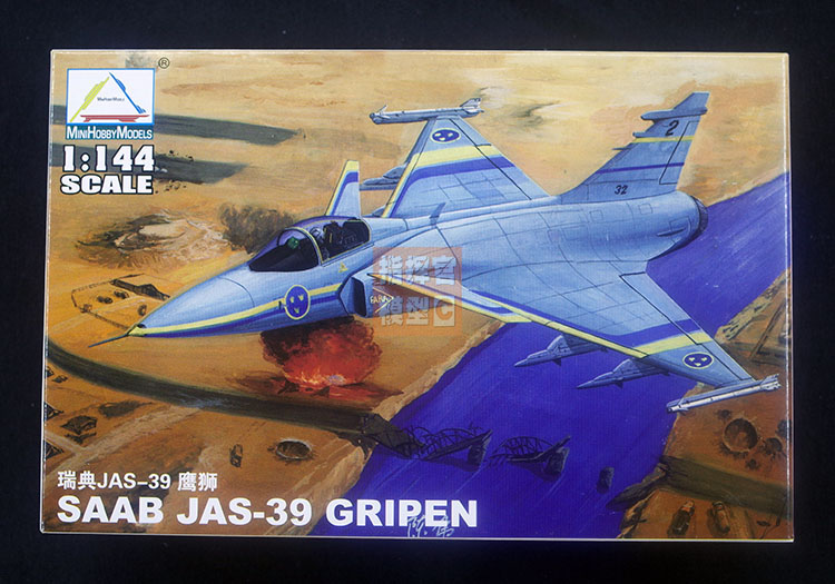 1: 144 JAS39 Gryphon Fighter Military Assembly Aircraft Model 80425
