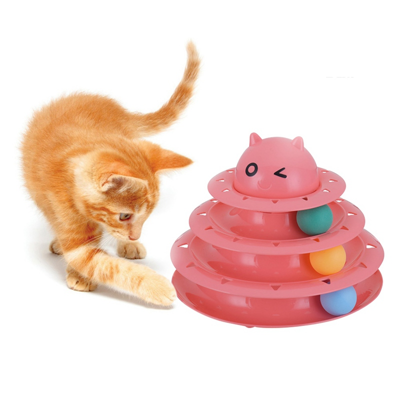 Plastic Three Levels Tower Tracks Disc Cat Toy Amusement Shelf Play Station Pet Cats Triple Play Disc Ball Toys