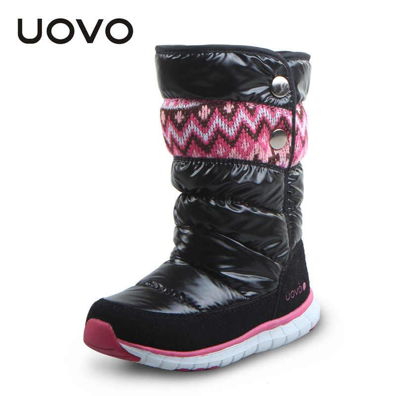 UOVO 2019 bottes d'hiver pour filles marque de mode enfants chaussures bottes en caoutchouc chaud pour enfants filles bottes de neige princesse taille 27 #-37 #