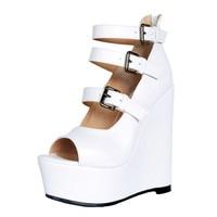 sandals women Summer shoes Woman wedges platform sandals Fashion Buckle Flange Rome sandals white women shoes