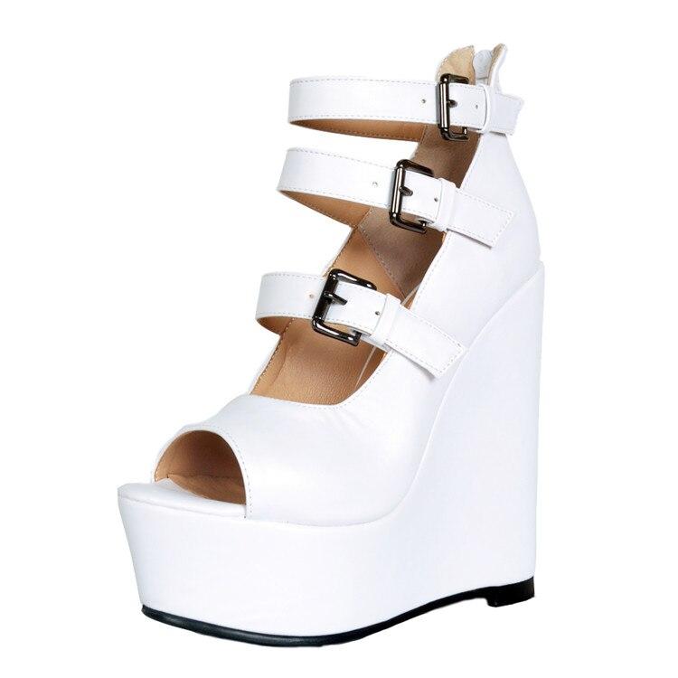 Sandali donne di Estate scarpe Donna incunea della piattaforma sandali Moda Fibbia Flangia Roma sandali bianco scarpe da donnaSandali donne di Estate scarpe Donna incunea della piattaforma sandali Moda Fibbia Flangia Roma sandali bianco scarpe da donna