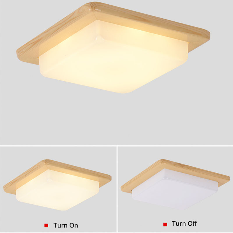 Japanese Warm White LED Wood Ceiling Lights Modern Acrylic Lampshade Tatami Bedroom Living Room Light Home Lamp Lighting CL225