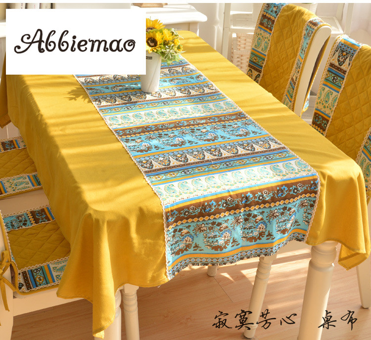 Abbiemao Mediterranean Style Lemon Table Cloth Full Page And Stitching  Version Cotton Fabric Desk Cover Dustproof Tablecloth In Tablecloths From  Home ...