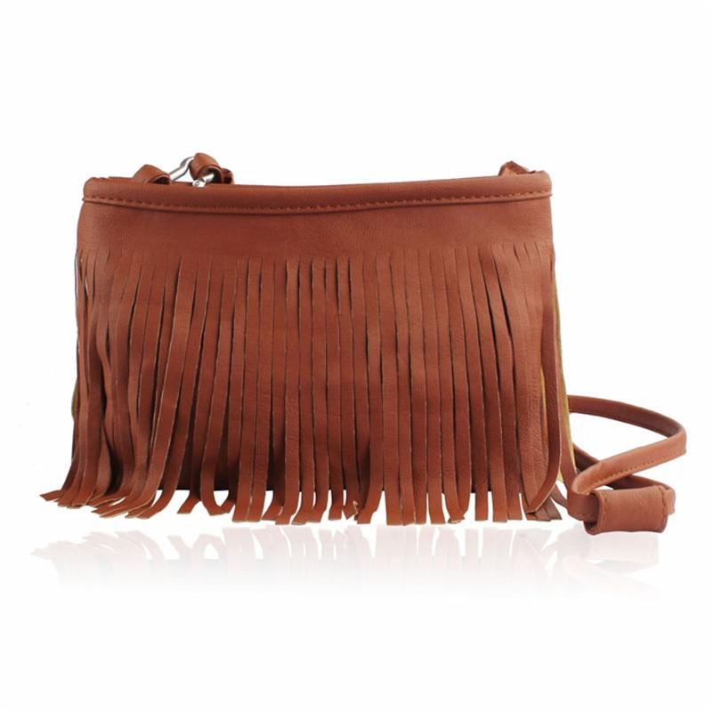 Tassel Shoulder 2018 Strap Vintage Womens Leather Handbag Tote Trendy Shoulder Bags Messenger Bag Cross body bag Ladies Bags