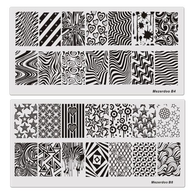 Floral Goemetry Retro Script Rectangle Template 10pc Nail Stamping
