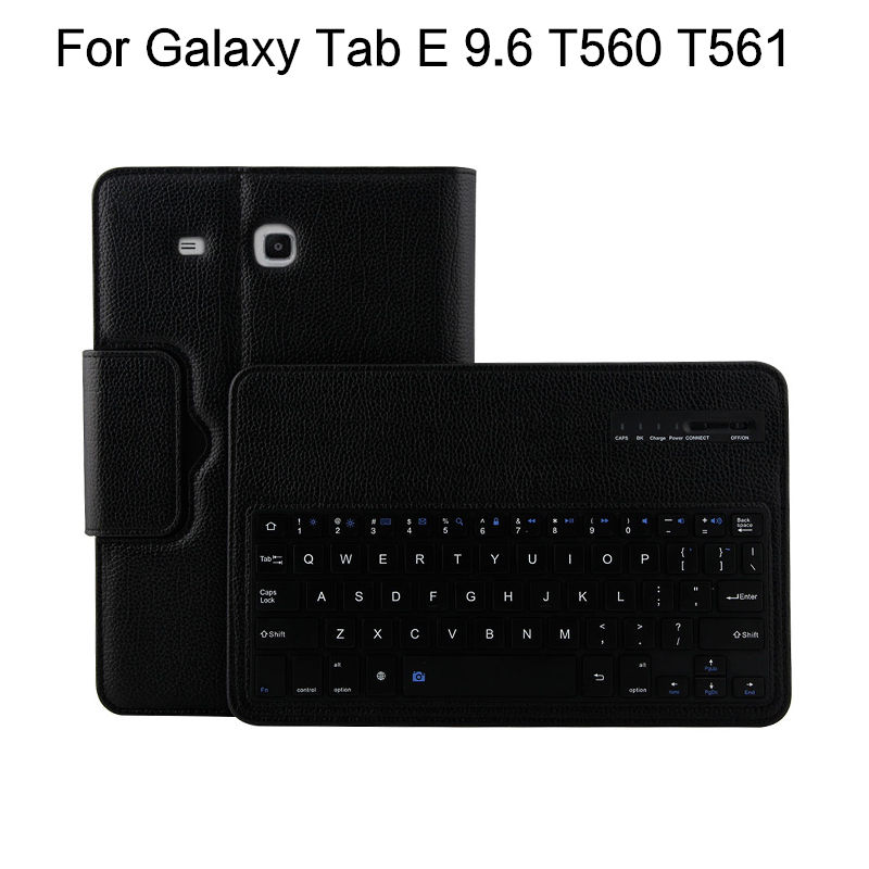 все цены на Case For Samsung Galaxy Tab E 9.6 T560 T561 Tablet Cover Wireless Bluetooth keyboard Protective PU Leather SM-T560 SM-T561 Case онлайн