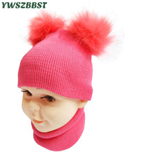 New Autumn Winter Crochet Children Hat Scarf Baby PomPom Ball Girls Beanies Caps Toddlers Kids Boys Hats