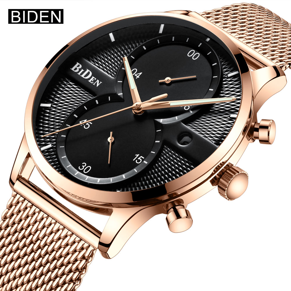 BIDEN Fashion Brand Luxury Quartz Watches Casual Men Stainless Steel Mesh Strap Wrist Watch Male Ultra Thin Watch Clock New цены
