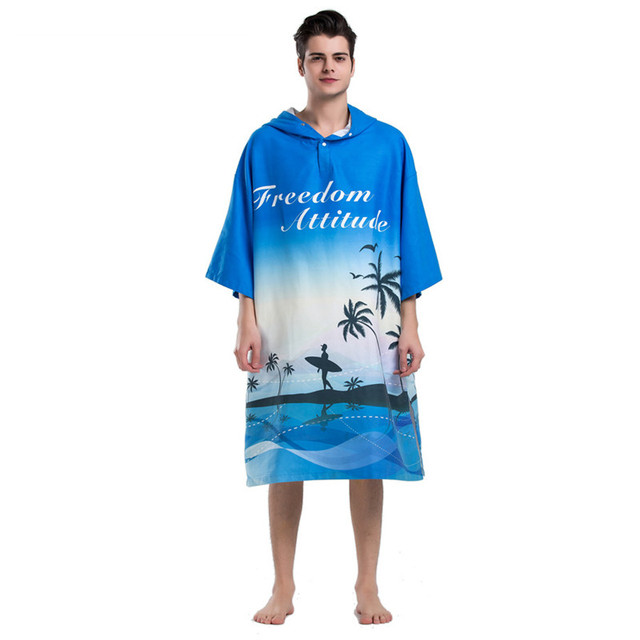 Blue Palm Tree Printing Changing Robe Bath Towel Fashion Outdoor Adult Hooded  Beach Towel Poncho Women ce1d50172