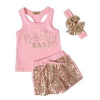 2017 Summer Unisex Kids Baby Carters Girls Clothing Set 3 PCS Set Cotton Letter Printed Tops + Pants + Hairpin Infant Clothing