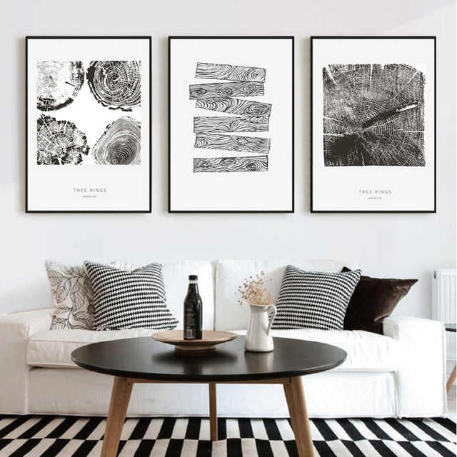 Tree rings canvas painting abstract black white modern nordic canvasl art print poster wall pictures for