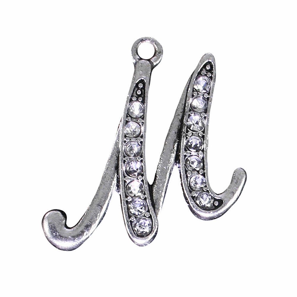 Jewelry Making New Fashion Antique Silver Plated Zinc Alloy Clear Crystal A-Z 26 Alphabet Letters Initial M Charms & Pendants