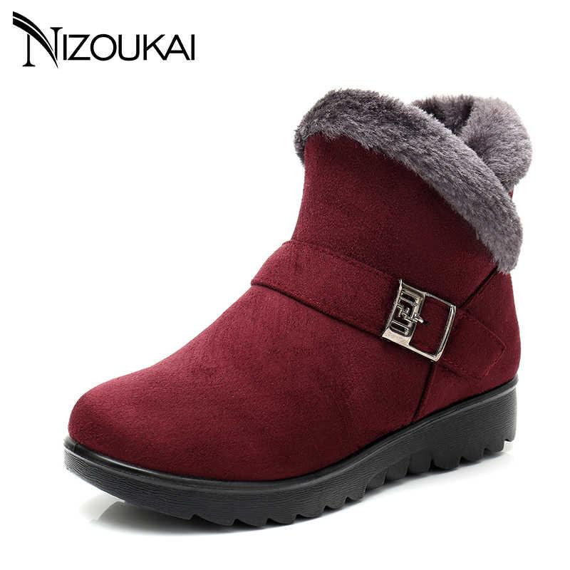 2018 Kış çizmeler Kadın Kar Botları peluş Sıcak Kış ayakkabı Artı boyutu 41 Kırmızı Siyah zip ayakkabı kadın Kışlık botlar
