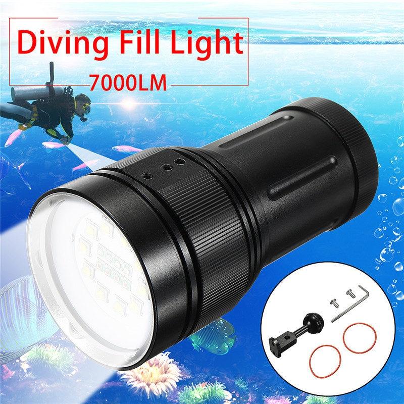 Elfeland Diving Professional Photography Flashlight 10xT6 White(Fill Light) 7000 Lumens 4xRed 4xBlue LED 18650 Scuba Torches