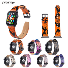 BEAFIRY Genuine Leather For Apple Watch Band 38mm 42mm black pink gold pink pink black blue orange python pattern Leather straps