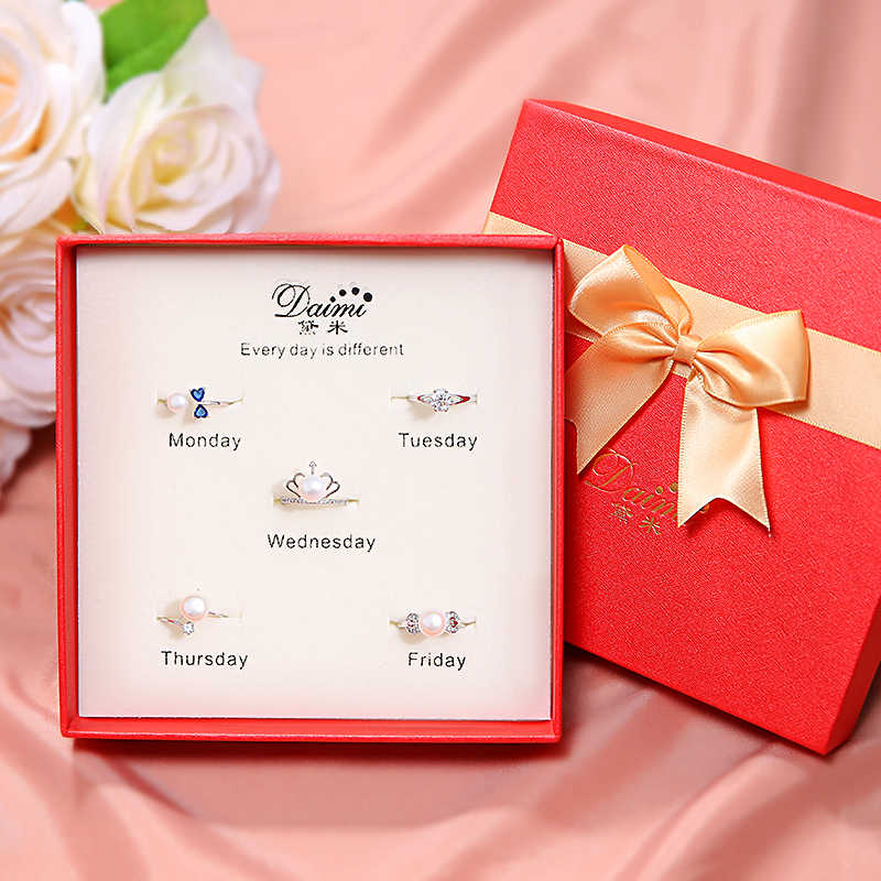 DAIMI Ring Jewelry Zircon 925 Silver Ring Sets Blue Bowknot Crown Pearl Ring Jewelry Package