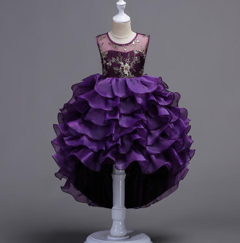 Children's floral performance princess dress girls front short back long lace dancing dress Family Matching Outfits R516