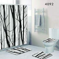 F Big Size Tree Bathroom Rug Sets Christmas Home Decoration Bath Shower Curtain Non Slip Toilet Mats Set 4PCS 50x80cm Foot Pads